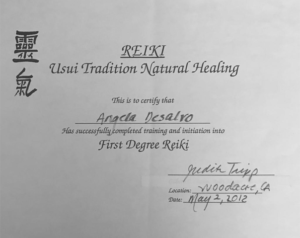 Reiki Certification Angela DeSalvo